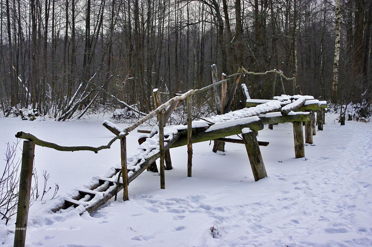 Прежний мост через реку Полю у села Шатур