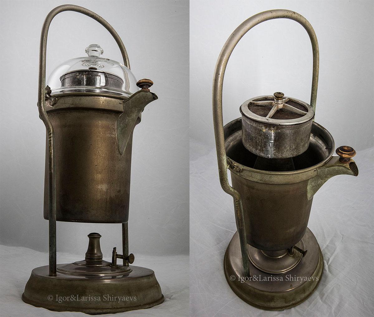 Старинная бульотка-кофеварка со спиртовкой. Конец XIX века.
